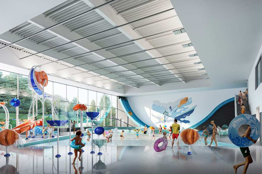 Artist impression of Moorways Sports Village water park