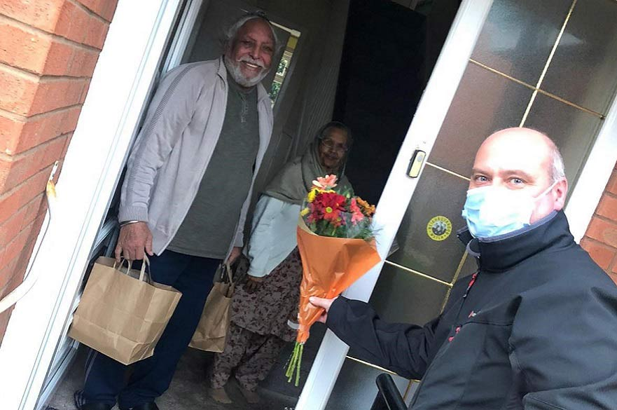 Flowers being delivered to people sheilding