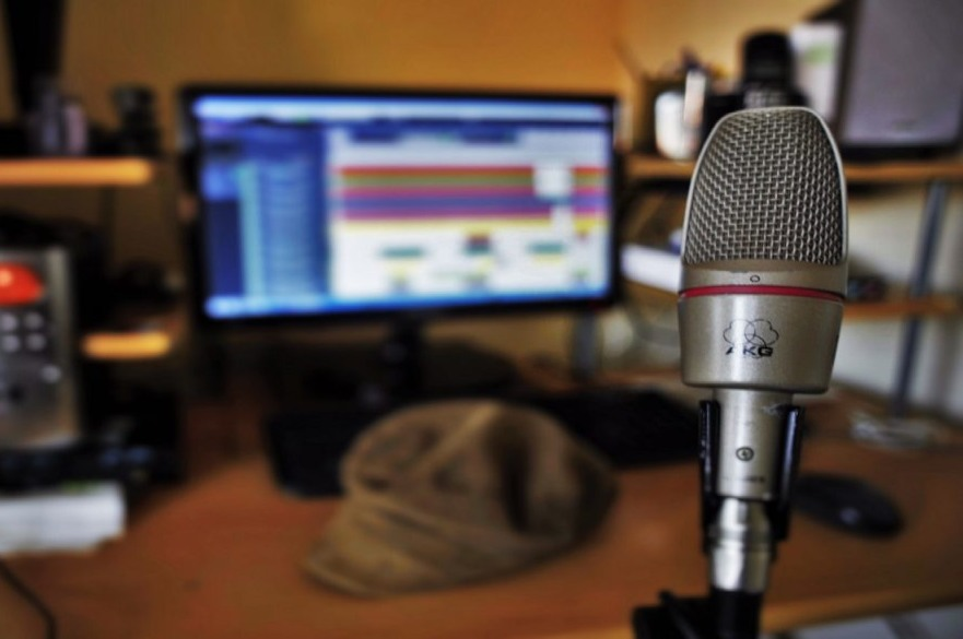 Microphone in home music studio