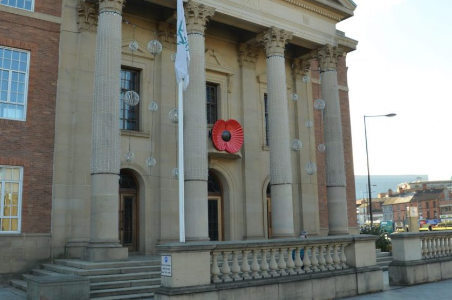 Remembrance poppy on outside of Council House