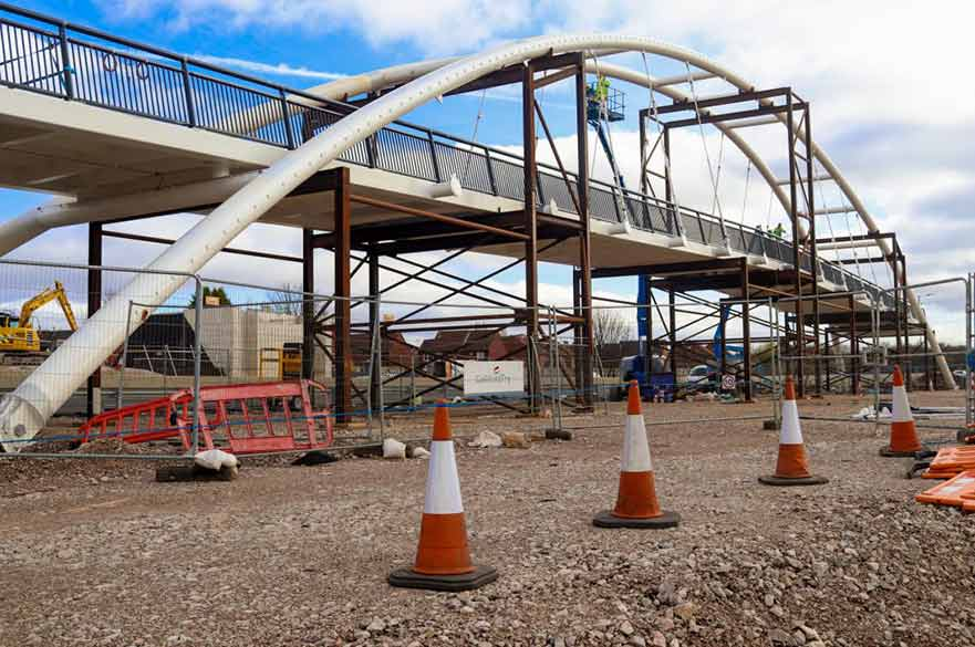 A52 footbridge construction site